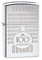 Зажигалка ZIPPO Фрэнк Синатра, латунь/сталь с покрытием High Polish Chrome, серебристая, 36x12x56 мм, 28960